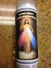 DIVINE MERCY 7 DAY UNSCENTED WHITE CANDLE IN GLASS (DIVINA MISERICORDIA)