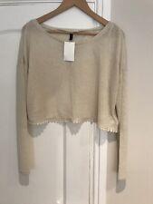 H&M Ladues Cream Fine Knit Cropped Jumper With Split Back. Medium New