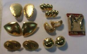 Mixed lot of 7 Designer Gold Tone Earrings: 5 MONET 1 NAPIER + gold filled post