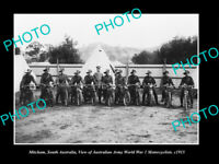 OLD POSTCARD SIZE PHOTO MITCHAM SA, THE WWI ARMY MILITARY MOTORCYCLES 1915
