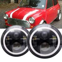 7'' Round PAIR LED Headlights Halo Hi/Lo Beam for Classic Mini Austin Rover