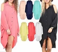 Unbranded Patternless Long Sleeve Shirt Dresses for Women