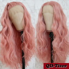 Long Wave Hair Pink Color Synthetic Lace Front Wig Glueless Heat Resistant Fiber