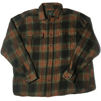 Vintage WOOLRICH  Plaid Flannel Mens Thick Button Up Green Orange Sz XXL 2XL