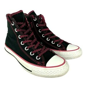Converse Womens US Size 6 Chuck Taylor High Tops Black Pink Trim Bows 519218