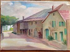 Aquarelle couleurs fine '800 primi '900 village des montagnes strada jupes case