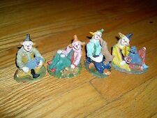 VINTAGE- LOT OF 4 - CERAMIC - MINIATURE? - CLOWNS WITH DOGS FIGURINES