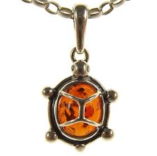 BALTIC AMBER STERLING SILVER 925 TORTOISE TURTLE PENDANT JEWELLERY JEWELRY GIFT