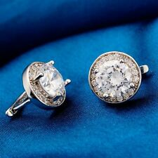 Fashion Show Jewelry White GP Clear Cubic Zircon Gem Hoop Earrings