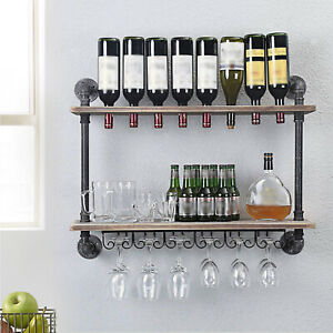 32 Inch Wall Mounted Wine Rack Bottle Champagne Glass Holder Home Kitchen Bar US