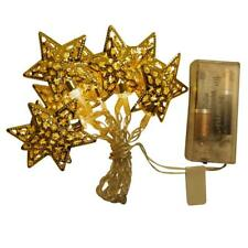ProductWorks Battery Operated Star Metal Cap LED Light String Gold, 4.5 ft - New