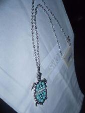 Lucky Brand, Nwt, Silver Tone,Turquoise Semiprecious, Tortoise Pendant Necklace.