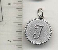 14KT WHITE GOLD EP LETTER T ROUND INITIAL DISC CHARM