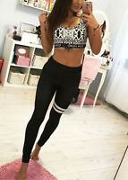 Womens Fitness Compression Leggings Yoga Pants Gym Trousers Workout Wear Black