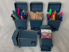 Vintage Hartin International Miniature Plastic Blue Trash Can 5.5 Inches
