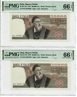 Italy - Two Consecutive Notes 20,000 Lire 1975 Pick#104 PMG Gem UNC 66 EPQ Pair