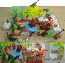 60 pcs Prehistoric Dinosaur Animal Playset Toy Plastic Figures & Accessories