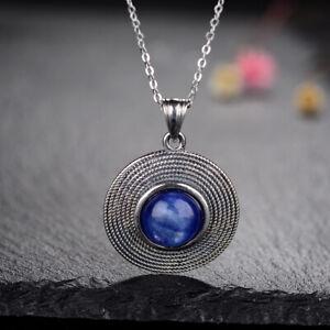 Vintage 925 Silver Moonstone/Lapis Antique Pendant Necklace Women Jewelry Choker