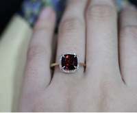 2ct Cushion Cut Red Garnet Engagement Ring 14k Yellow Gold Finish Halo Solitaire