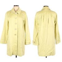 J. Jill Women Trench Jacket Medium Linen Chartreuse Green Knee Length Pockets