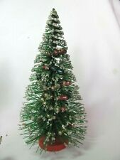 "Vintage 7-1/2"" Bottle Brush Christmas Tree Glass Garland Red Base Silver Sparkle"