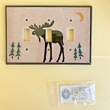 All Fired Up! Moose Artistic Ceramic Light Switch Plate 3 Holes