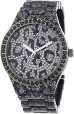Guess Women's Seductive Leopard Print w/ Crystal Dial Black 40mm Watch