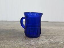 """Vintage Cobalt Blue Mug Shaped Shot Glass Or Toothpick Holder  1 3/4"""" Tall"""