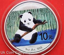 2014 China Panda 1oz Silver Coloured Bu 10 Yuan Coin In Capsule