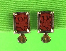 Silver Tone Rectangular Earrings with Red/Orange Floral Carving Clip-On