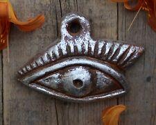 Silver Metallic Leaf Eye Milagro Handmade Clay by Rafael Pineda Mexican Folk Art