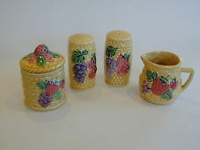 Beautiful Vintage Japanese collection of  basketware Salt & Pepper, Milk, Sugar