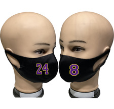 KOBE BRYANT LEGEND LAKERS 8 24 Reusable Washable Cloth Protection Face Mask LOT