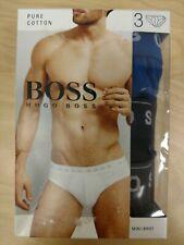 Hugo Boss 3 Pack 100% Pure Cotton Mini Briefs - Size M - Blue, Grey, Black - NEW