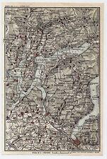 1927 ORIGINAL VINTAGE MAP OF VICINITY OF LUGANO COMO LAKE ITALY SWITZERLAND