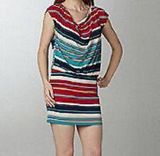 LAUNDRY by Design Vestido Talla XL Rojo de rayas azules cuello drapeado Cóctel