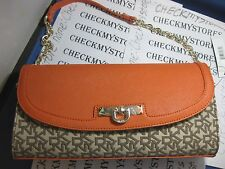 NEW DKNY Womens T&C Saffiano Chino Orange Gold Chain Latch Flap Purse Handbag