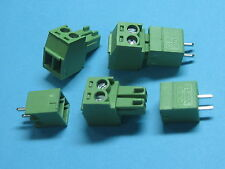 50 pcs Pitch 3.81mm 2way/pin Screw Terminal Block Connector Green Color Straight