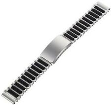 SPEIDEL 18MM SILVER BLACK STAINLESS STEEL RUBBER BUCKLE WATCH BAND STRAP