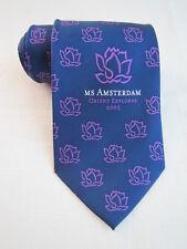 MS Amsterdam Orient Explorer 2005 CRUISE Silk Necktie Blue Purple Flowers