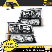 For 2003 2006 Chevy Silverado Black Housing Amber Side Headlightslamp Assembly Fits More Than One Vehicle