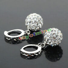 Women White Gold Filled Crystal Rhinestone Hoop Earrings Wedding Jewelry New