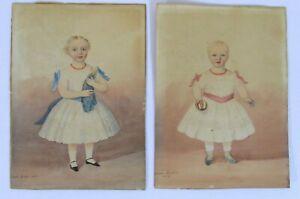 Pair Of Antique American Folk Art Child Portrait Watercolor Paintings Circa 1850