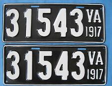 1917 Virginia license plates pair professionally restored