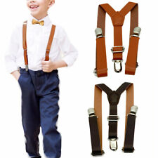 Children Kids Baby Faux Leather Suspenders Bows Boys Girls Braces Party Wedding