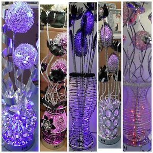 Aluminium Metal Silver Flower Vase Style Table Floor Colour Changing Lamp