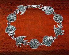 Sterling Silver Sand Dollar, Angelfish & Scallop Shell Bracelet w/Aqua Crystal