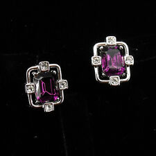 Rectangle Shaped Cut Stud Earrings Pairs Jewelry 18k Wgp Clear Amethyst Purple