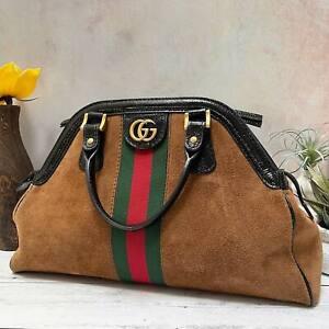 GUCCI RE(BELLE) Top Handle Medium Brown Suede & Black Leather Satchel Bag