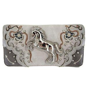 Sliver Horse Rhinestone Western Style Women Wristlet Cross Body Trifold Wallet